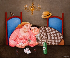 Afbeelding van onze reproductie van Rozen en kozen by Ada Breedveld op canvas, klein