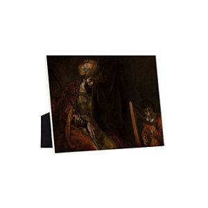 Image of our reproduction of Saul and David by Rembrandt van Rijn on ceramic tiles with easelback, small