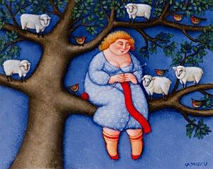 Afbeelding van onze reproductie van Schaapje schaapje by Ada Breedveld op canvas, klein