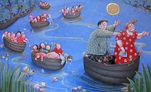 Afbeelding van onze reproductie van Schoolreisje by Ada Breedveld op canvas, klein