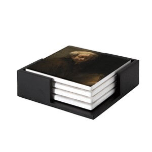 Image of our reproduction of Self-portrait as the Apostle Paul by Rembrandt van Rijn on ceramic coaster sets, small