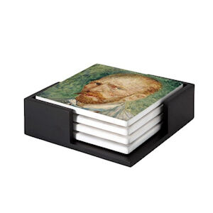Image of our reproduction of Self-Portrait by Vincent van Gogh on ceramic coaster sets, small