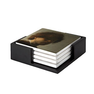 Image of our reproduction of Self-portrait Rembrandt van Rijn by Rembrandt van Rijn on ceramic coaster sets, small