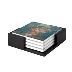 Image of our reproduction of Self-portrait Vincent van Gogh by Vincent van Gogh on ceramic coaster sets, small