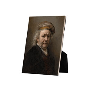 Image of our reproduction of Selfportrait Rembrandt van Rijn by Rembrandt van Rijn on ceramic tiles with easelback, small