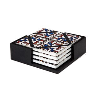 Image of our reproduction of Stained-Glass Composition III by Theo van Doesburg on ceramic coaster sets, small