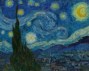 Afbeelding van onze reproductie van De sterrennacht by Vincent van Gogh op canvas, klein