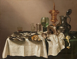 Image of our reproduction of Still Life with a Gilt Cup by Willem Claesz. Heda on canvas, small
