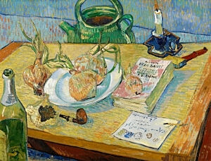 Image of our reproduction of Still Life with a Plate of Onions by Vincent van Gogh on canvas, small