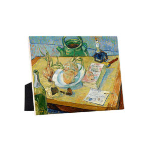 Image of our reproduction of Still Life with a Plate of Onions by Vincent van Gogh on ceramic tiles with easelback, small