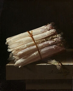 Image of our reproduction of Still Life with Asparagus by Adriaen Coorte on canvas, small