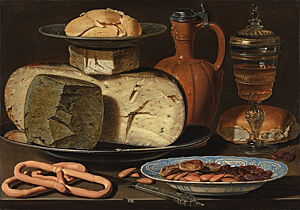 Image of our reproduction of Still Life with Cheeses, Almonds and Pretzels by Clara Peeters on canvas, small