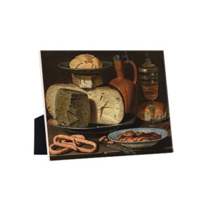 Image of our reproduction of Still Life with Cheeses, Almonds and Pretzels by Clara Peeters on ceramic tiles with easelback, small