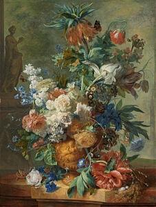 Afbeelding van onze reproductie van Stilleven met bloemen by Jan van Huysum op canvas, klein