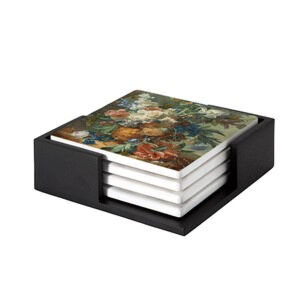 Image of our reproduction of Still Life with Flowers by Jan van Huysum on ceramic coaster sets, small