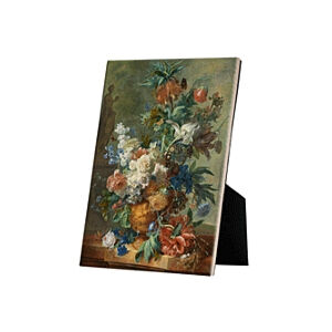 Image of our reproduction of Still Life with Flowers by Jan van Huysum on ceramic tiles with easelback, small