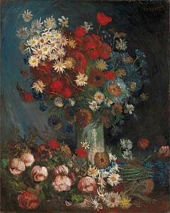 Afbeelding van onze reproductie van Stilleven met akkerbloemen en rozen by Vincent van Gogh op canvas, klein