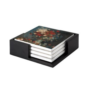 Image of our reproduction of Still Life with Meadow Flowers and Roses by Vincent van Gogh on ceramic coaster sets, small