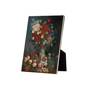 Image of our reproduction of Still Life with Meadow Flowers and Roses by Vincent van Gogh on ceramic tiles with easelback, small
