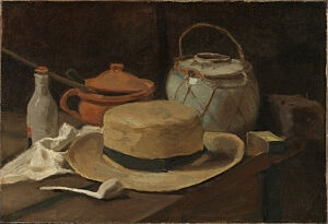 Image of our reproduction of Still Life with Straw Hat by Vincent van Gogh on canvas, small