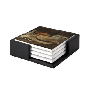 Image of our reproduction of Still Life with Straw Hat by Vincent van Gogh on ceramic coaster sets, small