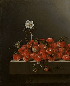 Image of our reproduction of Still Life with Strawberries by Adriaen Coorte on canvas, small