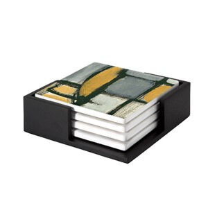 Image of our reproduction of Tableau No. 1 by Piet Mondriaan on ceramic coaster sets, small