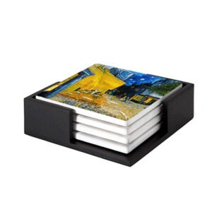 Image of our reproduction of Terrace of a Café at Night (Place du Forum) by Vincent van Gogh on ceramic coaster sets, small
