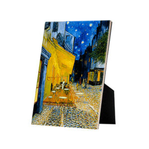 Image of our reproduction of Terrace of a Café at Night (Place du Forum) by Vincent van Gogh on ceramic tiles with easelback, small