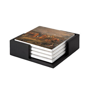 Image of our reproduction of The Battle of Waterloo by Jan Willem Pieneman on ceramic coaster sets, small