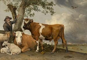 Afbeelding van onze reproductie van De stier by Paulus Potter op canvas, klein