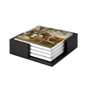 Image of our reproduction of The Bull by Paulus Potter on ceramic coaster sets, small