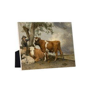 Image of our reproduction of The Bull by Paulus Potter on ceramic tiles with easelback, small