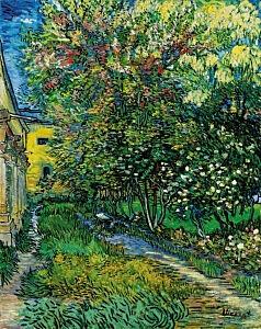 Afbeelding van onze reproductie van De tuin van de inrichting in Saint-Remy by Vincent van Gogh op canvas, klein