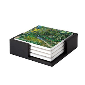 Image of our reproduction of The Garden of the Asylum at Saint-Remy by Vincent van Gogh on ceramic coaster sets, small