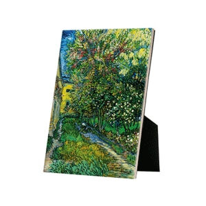 Image of our reproduction of The Garden of the Asylum at Saint-Remy by Vincent van Gogh on ceramic tiles with easelback, small