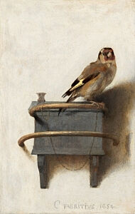 Image of our reproduction of The Goldfinch by Carel Fabritius on canvas, small