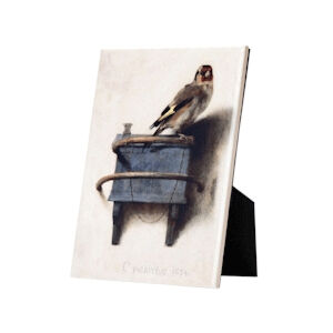 Image of our reproduction of The Goldfinch on tile with easelback by Carel Fabritius on ceramic tiles with easelback, small