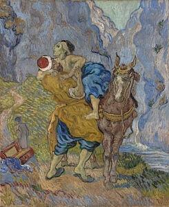Afbeelding van onze reproductie van De barmhartige samaritaan by Vincent van Gogh op canvas, klein
