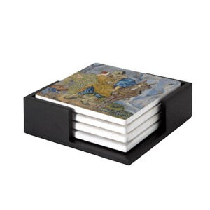 Image of our reproduction of The Good Samaritan by Vincent van Gogh on ceramic coaster sets, small