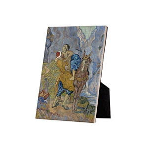 Image of our reproduction of The Good Samaritan by Vincent van Gogh on ceramic tiles with easelback, small