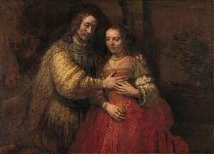 Afbeelding van onze reproductie van Het joodse bruidje by Rembrandt van Rijn op canvas, klein