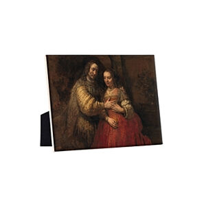Image of our reproduction of The Jewish Bride by Rembrandt van Rijn on ceramic tiles with easelback, small