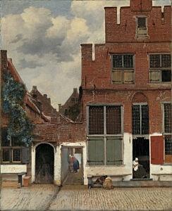 Afbeelding van onze reproductie van Het straatje by Johannes Vermeer op canvas, klein