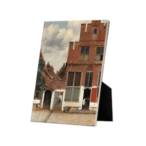 Image of our reproduction of The Little Street on tile with easelback by Johannes Vermeer on ceramic tiles with easelback, small