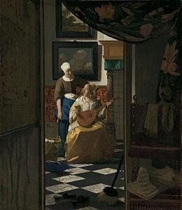 Afbeelding van onze reproductie van De liefdesbrief by Johannes Vermeer op canvas, klein