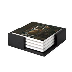 Image of our reproduction of The Love Letter by Johannes Vermeer on ceramic coaster sets, small