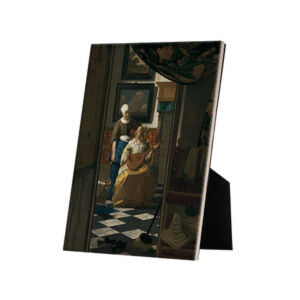 Image of our reproduction of The Love Letter by Johannes Vermeer on ceramic tiles with easelback, small