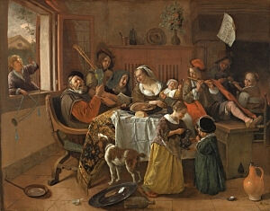 Image of our reproduction of The Merry Family by Jan Havicksz. Steen on canvas, small