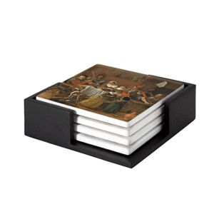 Image of our reproduction of The Merry Family by Jan Havicksz. Steen on ceramic coaster sets, small